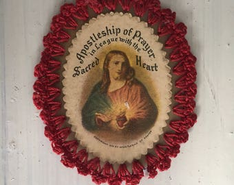 Vintage Scared Heart Christ Embrodiary Devotional