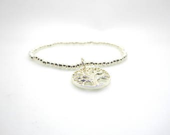 Silver Beaded Bracelet Tree Of Life Charm/Medium Size Stacking Stretch Bangle/Bridesmaids/Sister/Friend Gift//LR058B