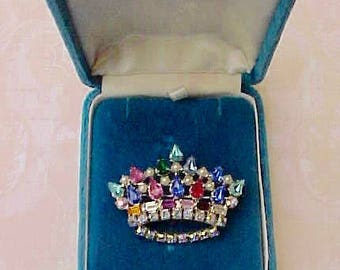 Beautiful Designer Signed Jeweled Crown Rhinestone Brooch