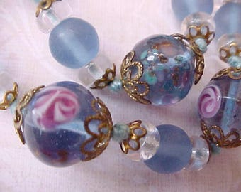 Lovely Necklace of Beautiful Italian Art Glass Beads