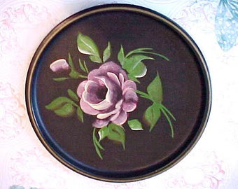 Lovely Small Sized 1950's Tole Painted Tray in Black with Large Pink Rose