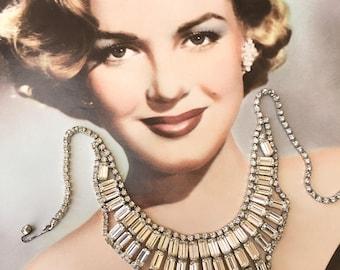 Gorgeous 1950's Rhinestone Bib Necklace