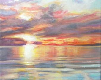 Original Oil Painting: Seascape reflecting Sunset Skies