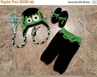SUMMER SALE Baby Frankenstein Costume Set Hat Pants Booties - Crochet Winter Outfit Newborn Beanie Boy Girl Costume Halloween  Photo Prop