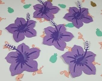 6 Hibiscus Scrapbook Embellishments, Hibiscus Die Cuts,  Card Topper, Purple glitter paper flower
