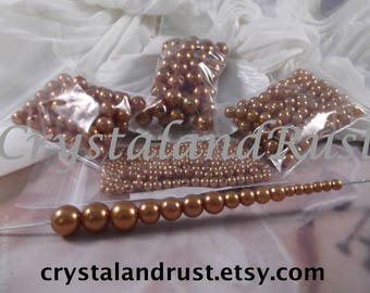4mm,6mm,8mm,10mm --- Dark Gold Faux Loose Pearls --- 4 bags