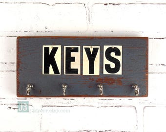 Rustic Key Hooks Organizer,  Blue Weathered Paint, Salvaged Reclaimed Wood, Repurposed Vintage Tin Letters, Wall Hanger