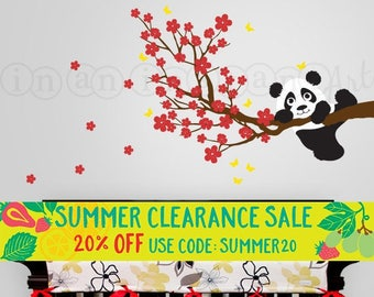 Panda Decal, Panda and Cherry Blossom Branch with Butterflies, Panda Vinyl Wall Decal for Nursery, Kids, Childrens Room 027
