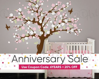 Cherry Blossom Tree Wall Decal, Blossom Tree for Baby Nursery, Kids or Childrens Room 108