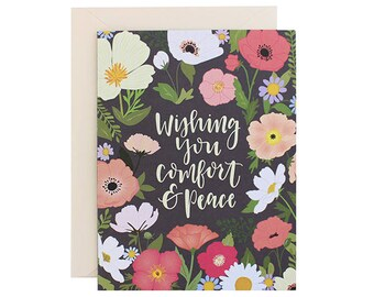 Wishing You Comfort & Peace Floral Sympathy Card