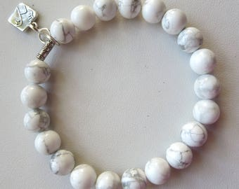 White Howlite and Sterling Silver Charm Stretch Bracelet