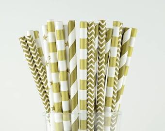 Gold Mix Paper Straws/Chevron/Circle/Star/Striped/Wedding/Party Decor/Cake Pop Sticks/Mason Jar Straws/Party Supplies