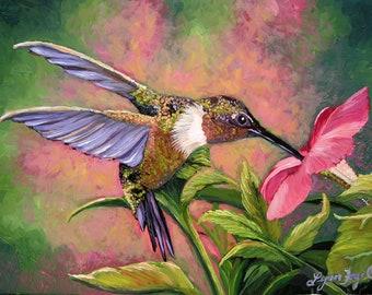 Hummingbird print, Hummingbird art, hummingbird painting, bird art, hibiscus, hummingbird decor, hummingbird canvas print of hummingbird