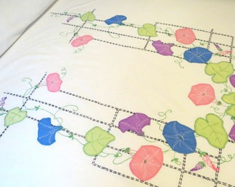 1950's Bedspread Hand Embroidered w Appliques, Mid Century Twin Size , 84 x 79, Purple Coral Morning Glory's w Green Ruffle, Vintage Linens