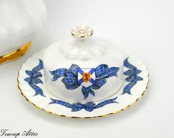 Royal Albert Nova Scotia Tartan Round Covered Butter Dish, English Bone China, Replacement China, ca. 1962-1970