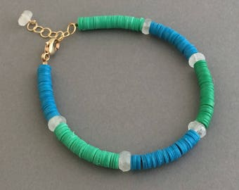 Moonstone Studded Green and Blue Vinyl Beaded Bracelet Available in Gold, Rose Gold, or Sterling Silver