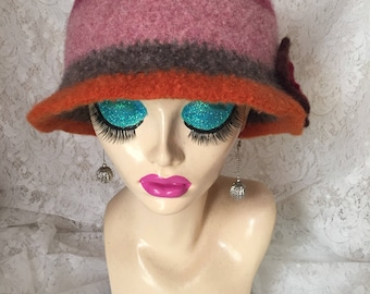 Scaps 1 Vintage Inspired Crocheted Felted Cloche Flapper Hat 'Molly'