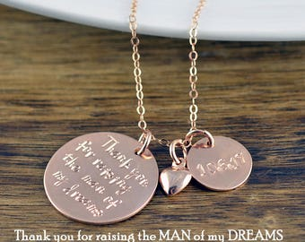 Thank You For Raising The Man Of My Dreams Necklace - Mother Of The Groom Gift - Gift For Mother In Law - Groom Mother Gift - Wedding Gift