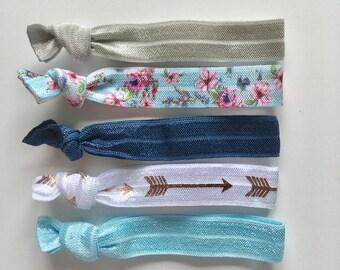 hair tie bracelets, party favours, hair accessories, boho jewelry, beach bracelets, mermaid friendship bracelets, bridesmaid gift