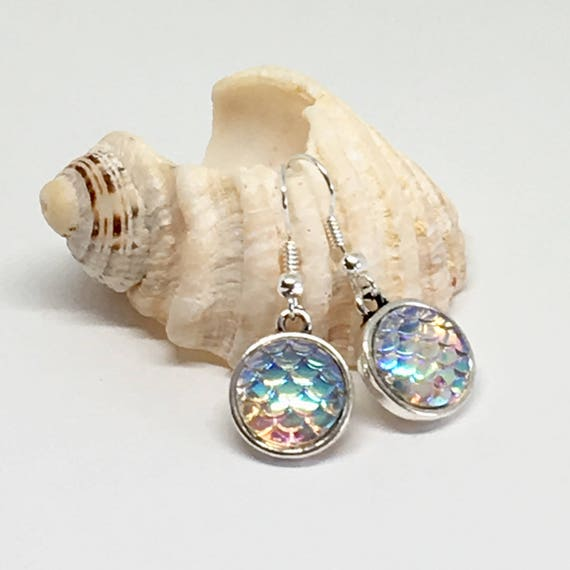 Mermaid scale earrings, gift for her, beach jewelry
