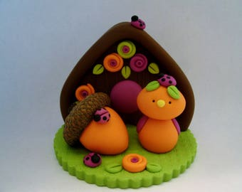 Autumn Bird - Acorn - Birdhouse - Polymer Clay - Fall - Figurine
