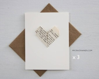 3 origami love cards || origami heart greeting cards | anniversary card | wedding cards || A2 card with envelopes -vintage heart
