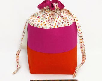 Project Bucket with Drawstring Closure, Handle, and Organizer Pocket - Pink and Orange Colorblock
