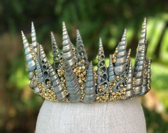 Mermaid Crown - Shell Crown - Festival Crown - Merman Crown - Patina Crown - Mermaid Costume. READY TO SHIP