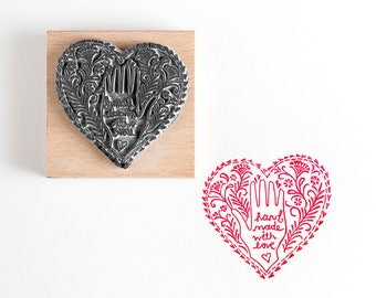 Hand Made with Love Heart Rubber Stamp