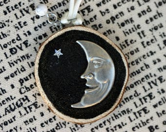 Wood slice ornament, man in the moon Christmas ornament, birch slice, tree slice, art on wood slice, moon and star, sky, silver and black