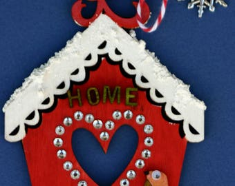 Bird house Christmas ornament, laser cut, heart, home, red and white, hand made, hand painted, snowflake, winter, house, whimsical, unique