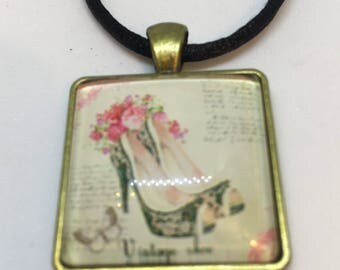 Antique Gold Colour Glass Tile Vintage Shoe Square Pendant Necklace- approx 26mm Square-Gifts For Her-Gifts for women-Ladies Jewellery