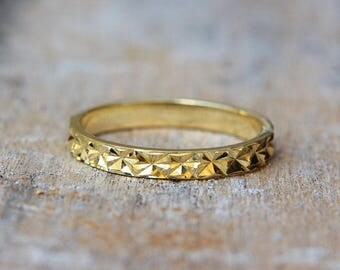 Thin Gold Unique Wedding Ring, Diamond Cut Sparkle Finish 14k gold / 18k gold