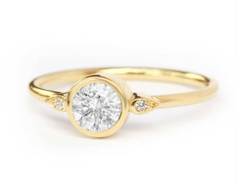 10% OFF Simple Solitaire Engagement Ring, 0.5 Carat Diamond Kiss Plus Ring, Unique Diamond Ring, Delicate Thin Ring