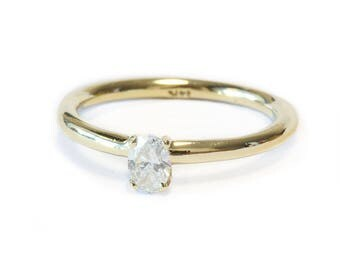 10% OFF Oval Engagement Ring, Solitaire Ring, 14K Gold Ring, 0.25 CT Oval Cut Diamond Ring, Delicate Ring, Unique Engagement Ring.