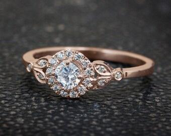 10% OFF Leaf Engagement Ring, 18K Rose Gold Ring, Halo Ring, Art Deco Engagement Ring, Unique Rings, 0.45 CT Diamond Crown Ring.