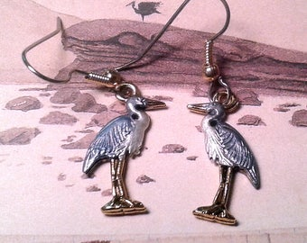 Hand Painted Great Blue Heron  Earrings