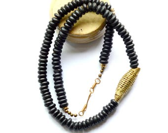 Black necklace, African necklace, African jewelry, Beaded necklace, Black bead necklace, Simple black necklace, African brass bead necklace