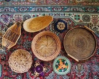 Boho Wall Basket Collection, Vintage Wicker Baskets, Set of 8,  Jungalow Style, Bohemian Wall Basket Decor, Woven Straw, Wicker, Wood