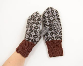 Mittens, Hand Knitted Mittens, Wool Mittens, Latvian Mittens, Nordic Mittens, Color Full Mittens - Brown and Gray, Size Medium