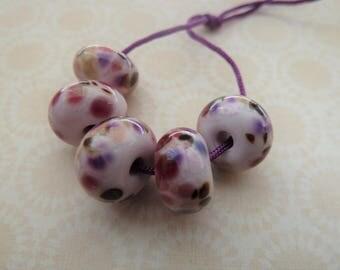 handmade lampwork pink frit glass beads, UK set