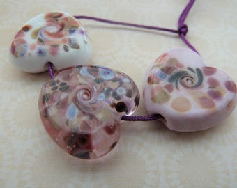 handmade lampwork glass beads, pink frit heart set UK