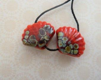 handmade lampwork glass shell beads, red raku pair UK