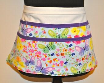 Butterfly Teacher apron, Utility Apron, Vendor Apron, Teacher Apron,  Floral apron, Blue apron, lavender teacher apron, butterflies apron