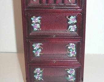 SPECIAL SALE Mahogany Lawyer's Bookcase Hand-Painted with Mulberry Pink Roses 1:12 Dollhouse Miniature Furniture