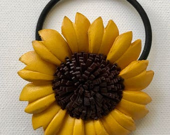 SUNFLOWER Leather Flower hair ties and ponytail holder