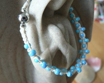 Hemp Bracelet, 7 inch with glass beads and magnet clasp