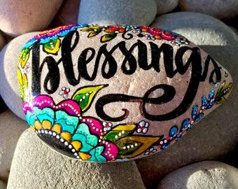 blessings/ painted stones /painted rocks/paperweights/ word stones /words on rocks / boho art/hippie art/ desk art/ items for altars / rcks