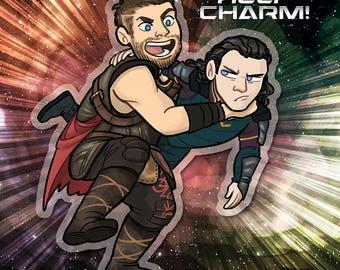 Thor Ragnarok Loki GET HELP acrylic charm keychain with brother metal charm bead