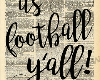 It's Football Y'all! - Vintage Dictionary Print